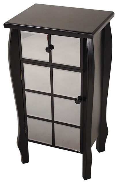 Wood And Square Mirror Cabinet, Black, Smoked Mirror.