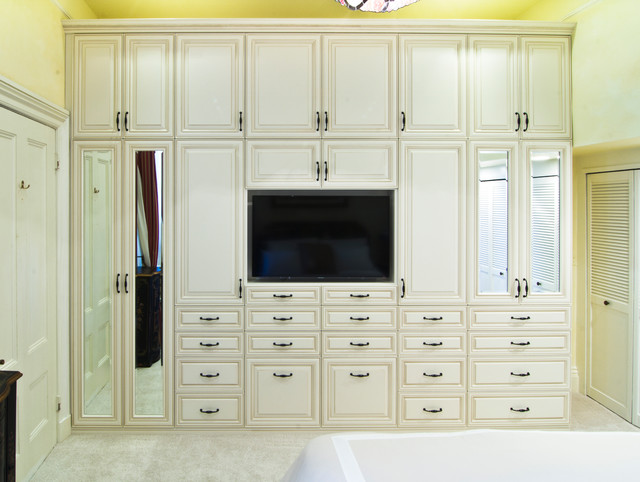 Wardrobe & Media Unit with Antique White Glazed RTF Fronts  traditional-closet