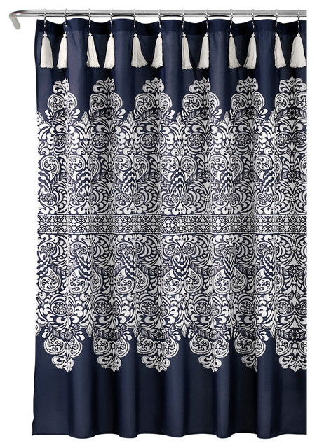 Boho Medallion Shower Curtain Navy 72x72