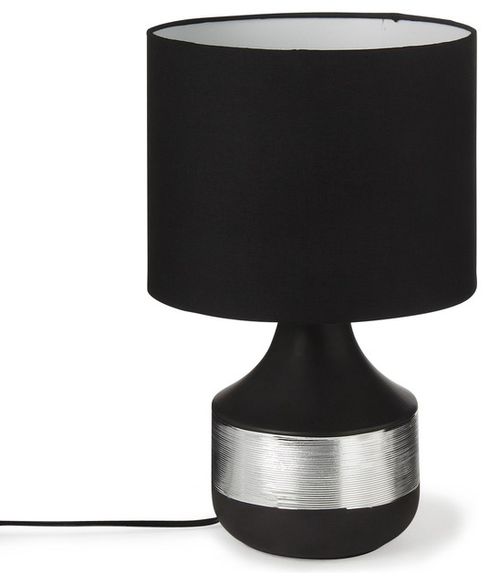 Marina lampe poser en c ramique noir argent h35cm for Table marina alinea