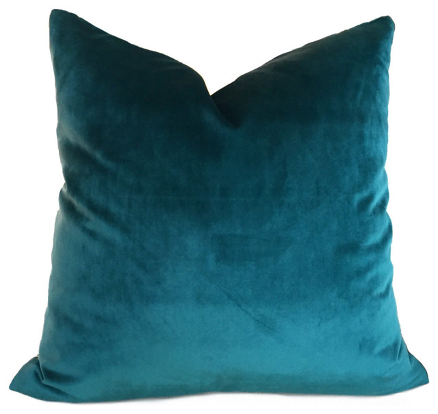 Robert Allen Touche Solid Teal Green Velvet Pillow Cover