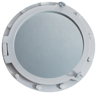 White wooden porthole mirror beach style wall mirrors for Porthole style mirror