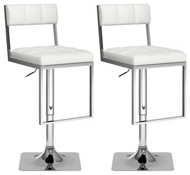 Square Tufted Adjustable Bar Stools, Set Of 2, White Leatherette  Contemporary Bar