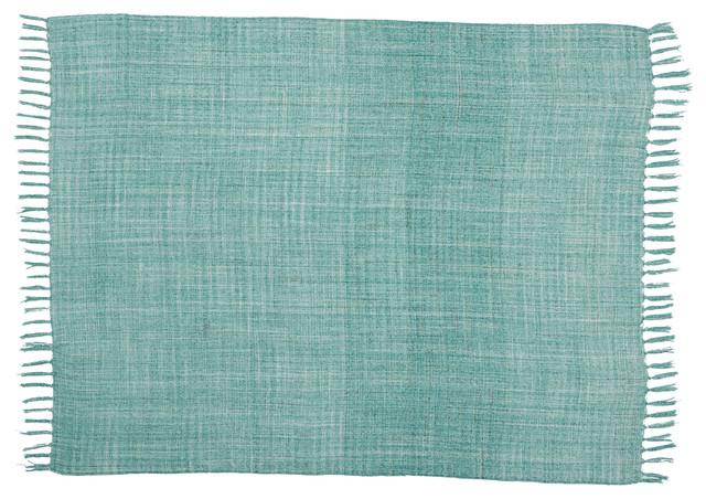"""Mina Victory Indoor/Outdoor Woven Throw Blanket, Aqua, 50""""x60"""""""
