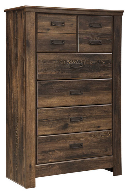 Quinden Rustic 5-Drawer Chest, Dark Brown.