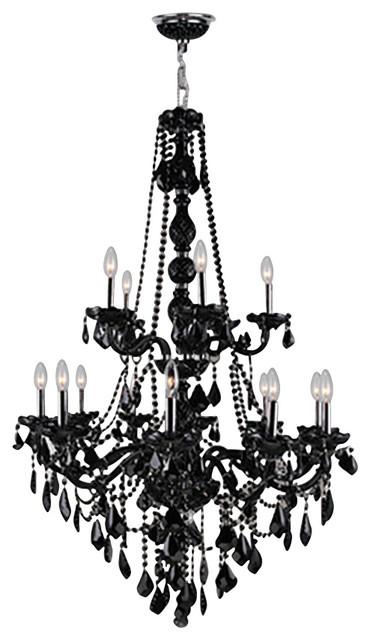 Worldwide Lighting W83107C33-BL Provence 15-Light Black Crystal Chandelier