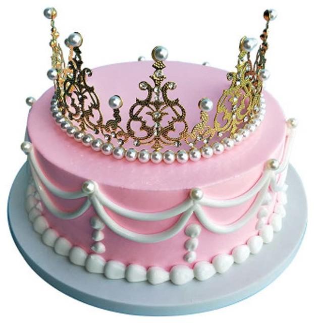 Pleasing Gold Crown Style Pretend Cake Decoration Simulation Cake Birthday Funny Birthday Cards Online Elaedamsfinfo