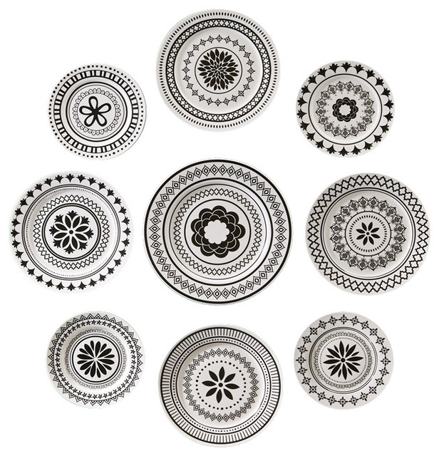 manor wall plates set of 9 contemporary decorative plates - Decorative Plates For Wall