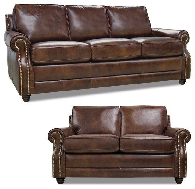 Levi Sofa And Loveseat Set, Havana Brown.