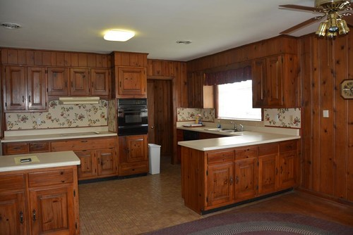 1951 kitchen with cherry cabinets and wood paneling, what to do