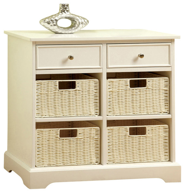 Shop houzz adarn white rectangular accent storage cabinet side table with drawers baskets - Contemporary side tables with storage ...