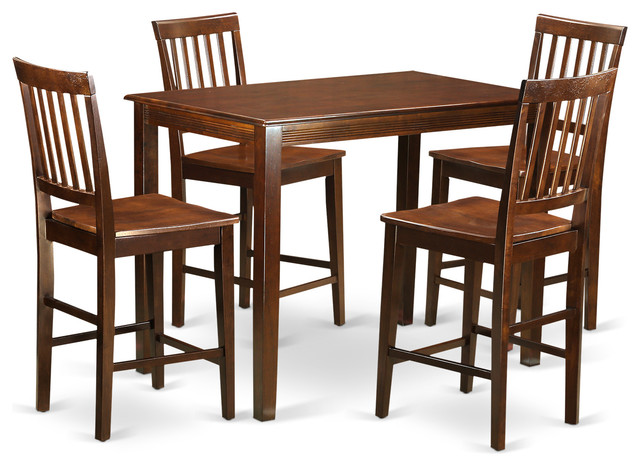 Eva Counter Height Dining Table Set Mahogany 5 Pieces