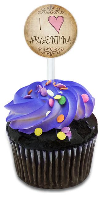 I Heart Love Argentina Vintage Cupcake Toppers Picks Set.