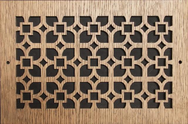 "Pattern Cut Air Supply Grille, Pattern Q, 12""x6"", Maple Veneer"
