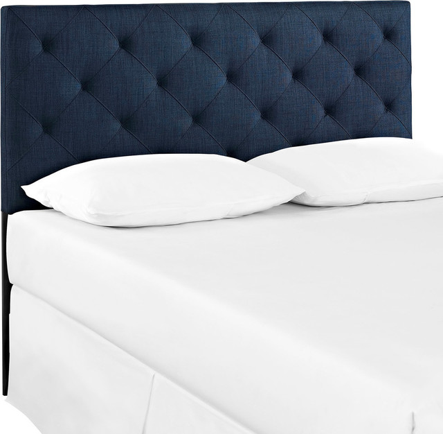 Modern Contemporary Fabric Headboard, Navy, Fabric, Full Size.