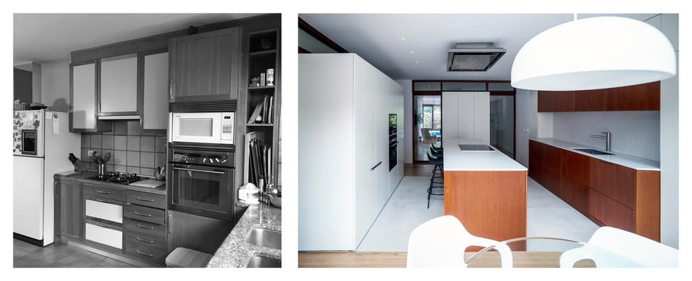 Antes y después de la cocina.