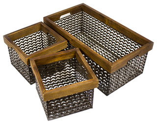 Jack Set of 3 Wire Baskets, Brown