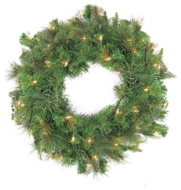 24 Pre-Lit Canyon Pine Artificial Christmas Wreath, Clear Lights.