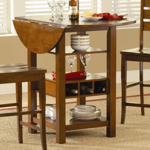 bf0993a95cf Ridgewood Counter Height Drop Leaf Dining Table with Storage - Mahogany -  Contemporary - Dining Tables - by Hayneedle