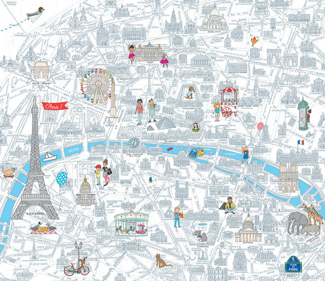 Paris Map Wallpaper.My Holiday In Paris Wallpaper 288x250 Cm Contemporary Wallpaper
