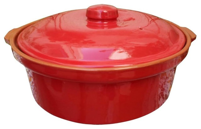 """Tagine Cooking Tagine Handcraft Tagine For Cooktop Or Oven, Red, 10""""."""