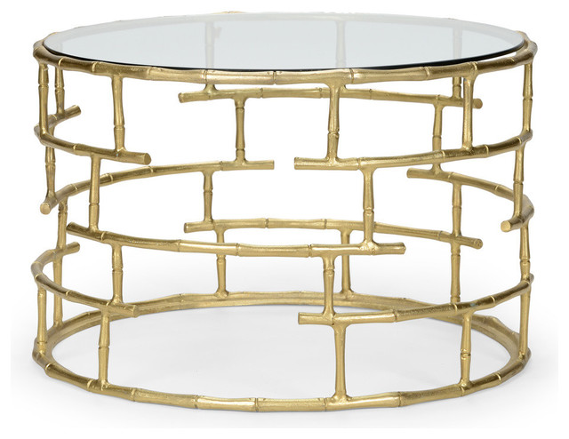Shop Houzz English Georgian America Modern Faux Bamboo Round Cocktail Table Coffee Tables