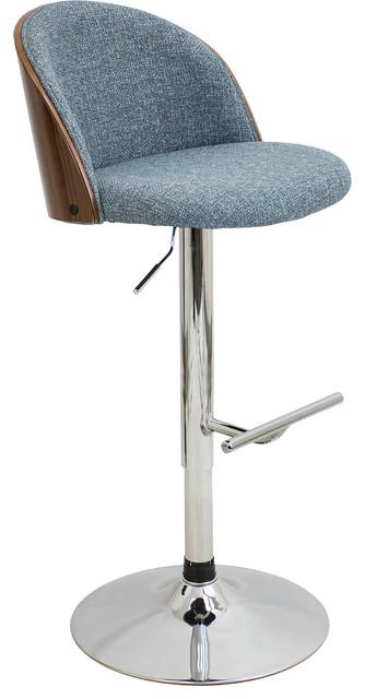 Groovy Luna Height Adjustable Barstool With Swivel Color Walnut Blue Uwap Interior Chair Design Uwaporg