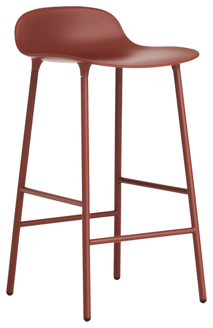 Normann Copenhagen Form Barstool, Lacquered Steel, Red