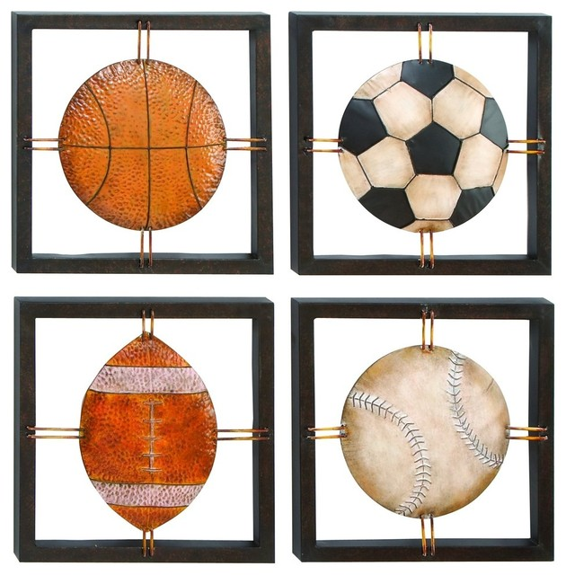 Sports Wall Plaque Frame Set Of 4 Football Basketball Baseball Home Decor