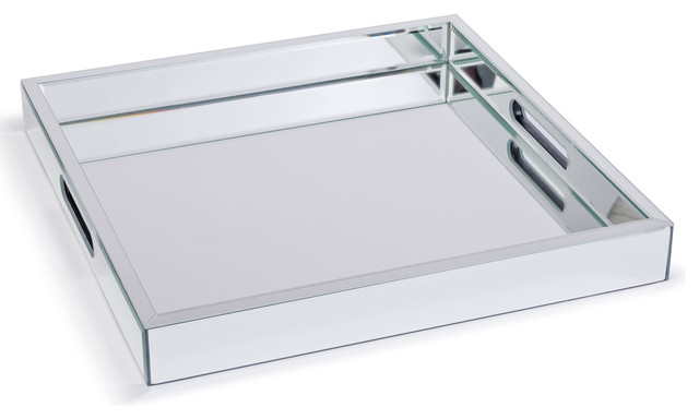 Zelda Modern Hollywood Regency Mirror Square Serving Tray