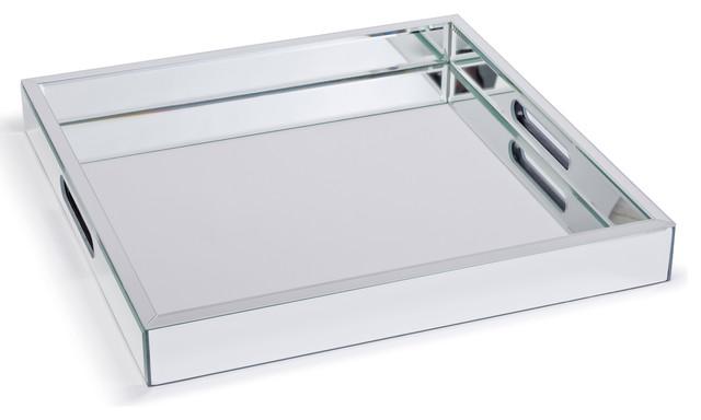 Zelda Modern Hollywood Regency Mirror Square Serving Tray - 17.25 Inch - Transitional - Serving ...