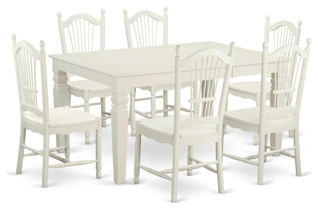 7-Piece Dinette Table Set, Table and 6 Dining Chairs, Linen White