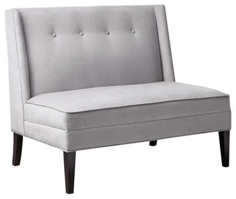 Jensen button tufted high back settee gray contemporary for Button tufted chaise settee