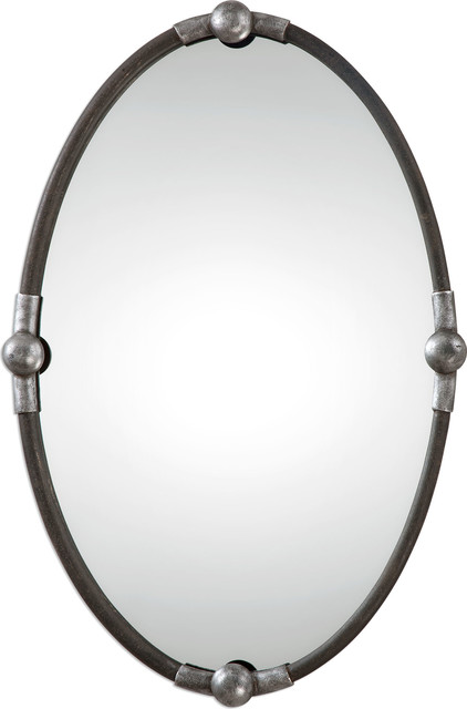 Carrick 32 Oval Mirror Rust Black/burnished Silver.