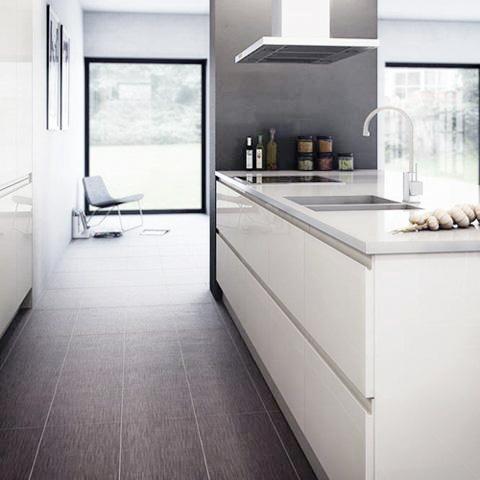 White Gloss Handleless Kitchen Cabinet Doors - Scandinavian ...