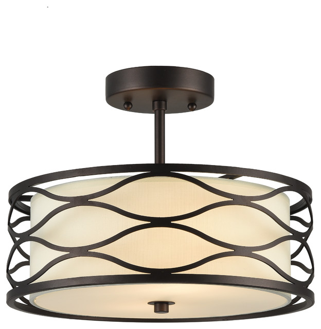 Chloe Lighting Gwen Transitional Oil Rubbed Bronze 2 Light Ceiling Fixture.