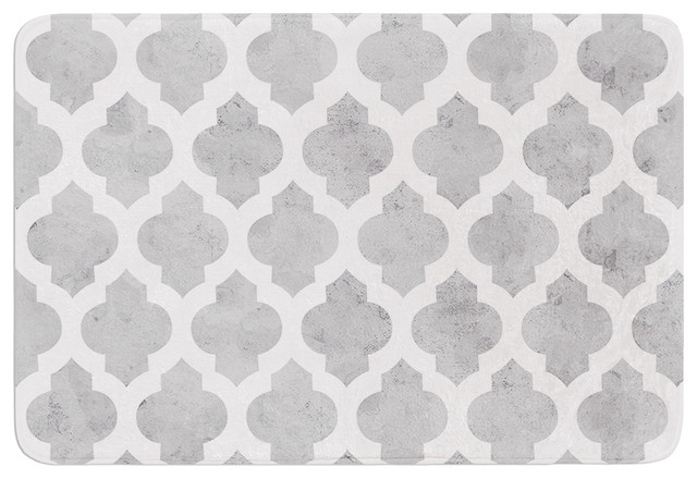 "Contemporary Bathroom Mats amanda lane ""gray moroccan"" gray white memory foam bath mat, 17"