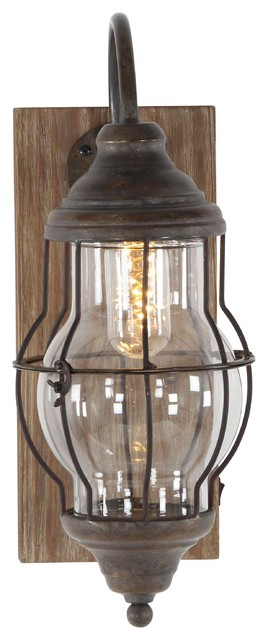 Farmhouse Iron and Wood Led Wall Sconce
