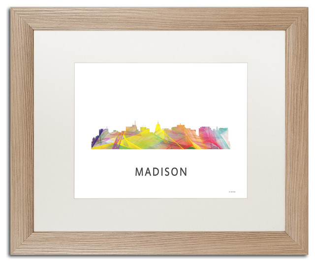 39 Madison Wisconsin Skyline Wb 1 39 Matted Framed Art