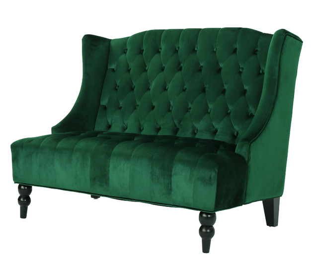 Leah Traditional Tufted High Winged Back New Velvet