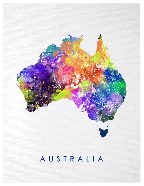 Australia Map Art.Dignovel Studios Australia Map Contemporary Watercolor Art Print