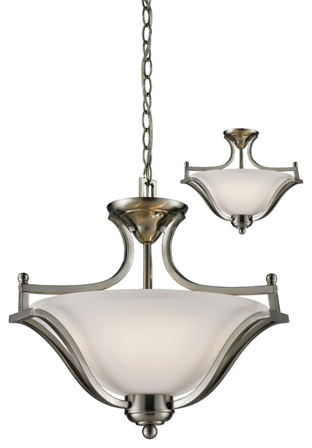 3 Light Pendant, Brushed Nickel.