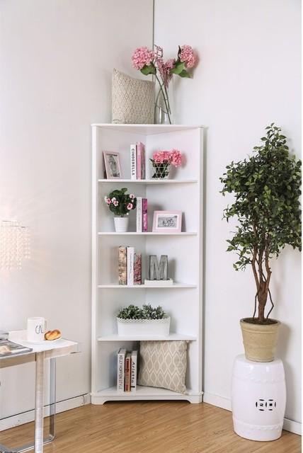 Contemporary Style Solid Wood Five Shelves Corner Bookshelf, White