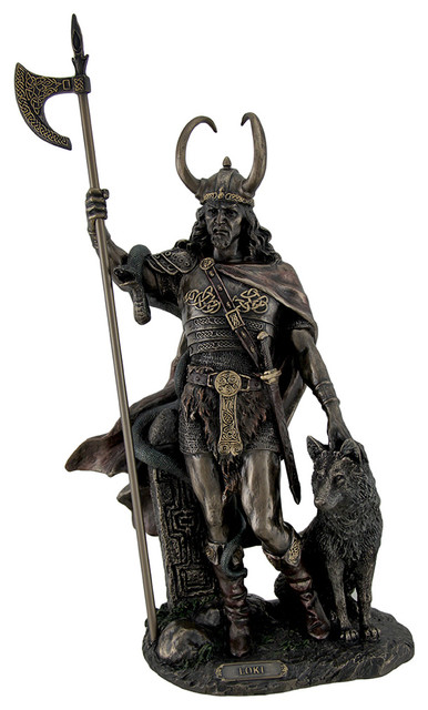 Bronze Finish Loki Norse God Statue Sculpture Decorative