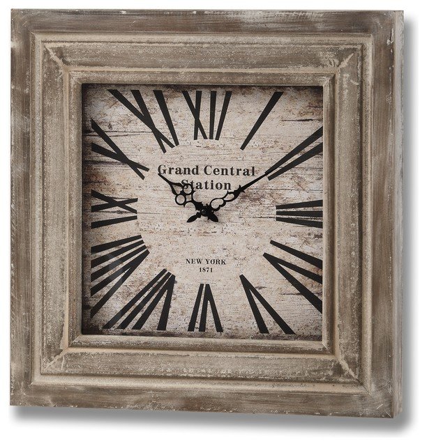 Grand Central Station Square Wooden Clock Country Wall