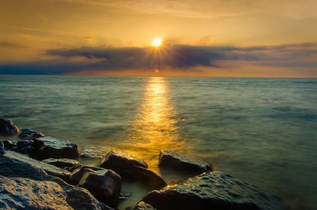 """Sun Ray on the Water"" Landscape Photo, Beach Unframed Wall Art Print"