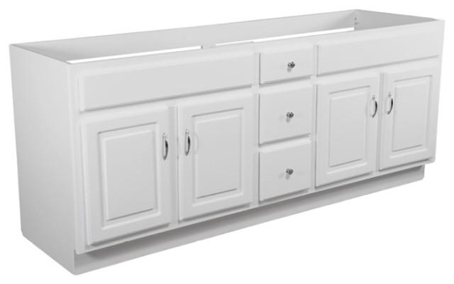 Concord 4 Door 3 Drawer White Gloss Finish Vanity Transitional Bathroom Vanities