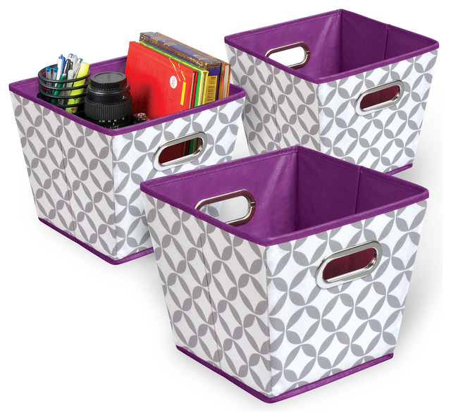 Folding Grommet Bin, Set Of 3, Heather Gray And Plum