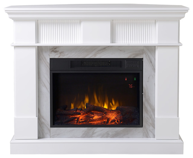 Genova Media Fireplace, Glossy Matte White