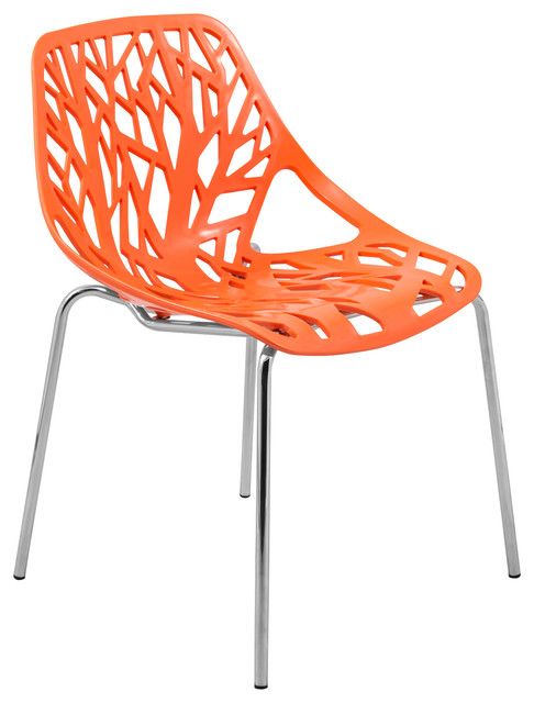 Asbury Modern Orange Chrome Dining Chair Contemporary
